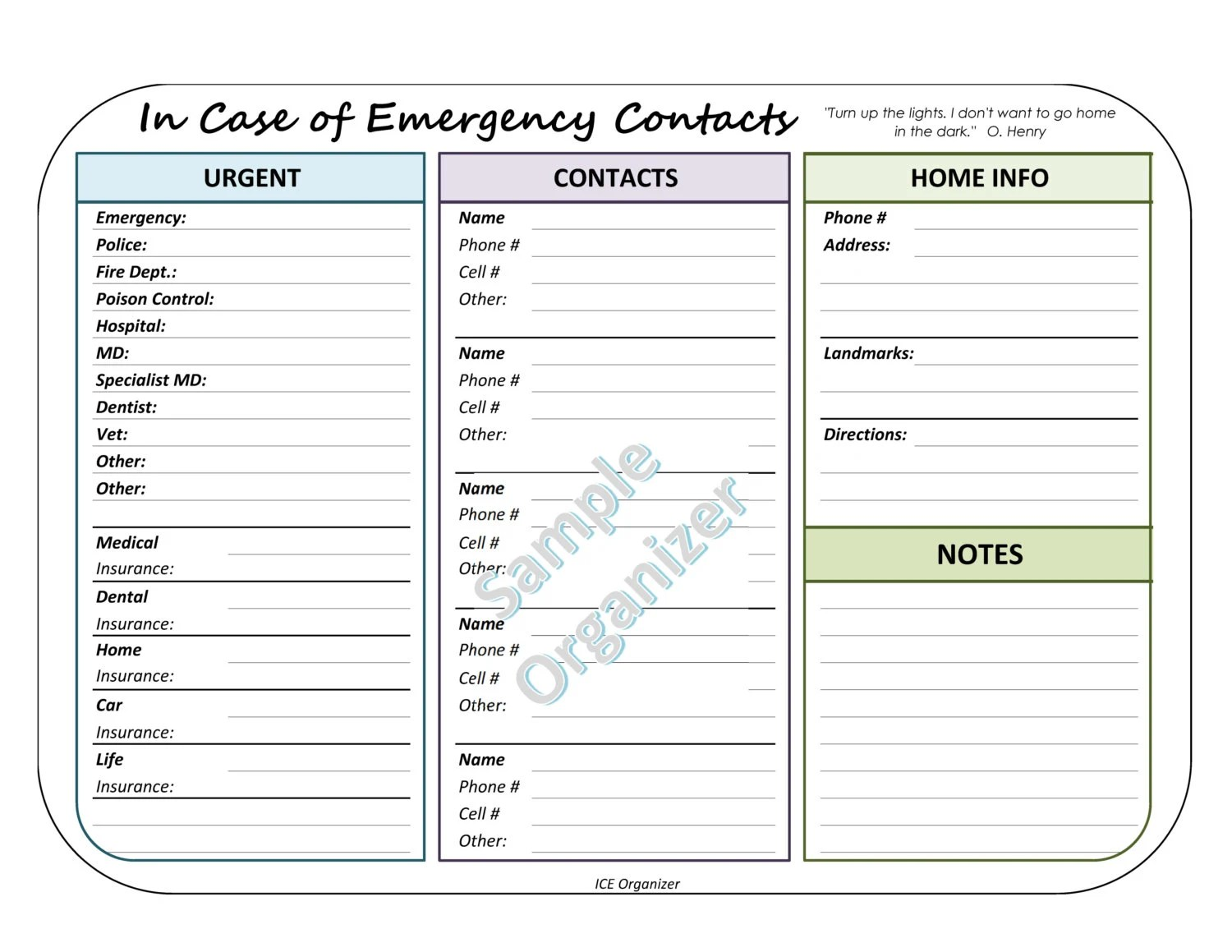 In Case Of Emergency Contact Organizer Contact Information