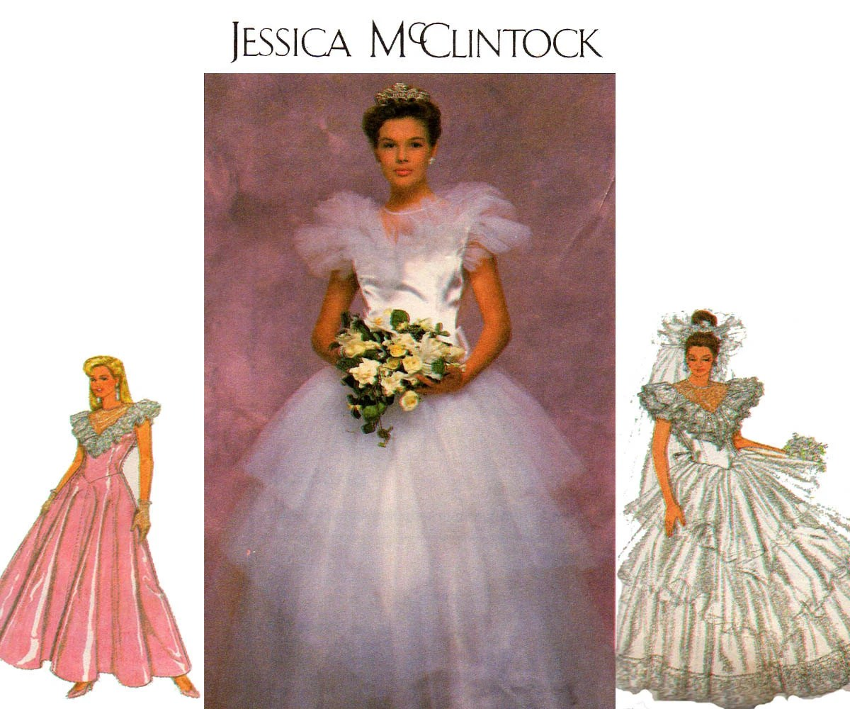 80s Puffy Tulle Wedding Dress Pattern Simplicity 9100 Bridal