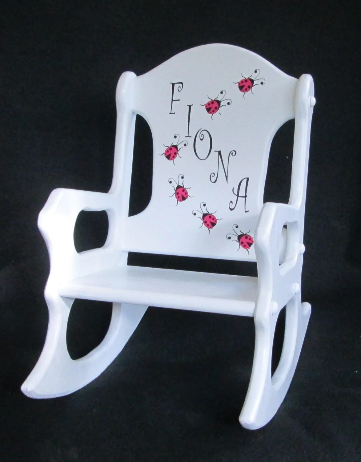 personalized little kid chair lipper round table and chairs toddler rocking ladybugs