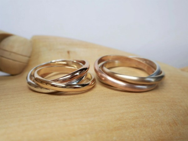 Tri Color Rolling Ring Sterling Silver Rose Gold Tsojewelry