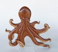Octopus Intarsia Wall Hanging Animal Wood Carving Wooden
