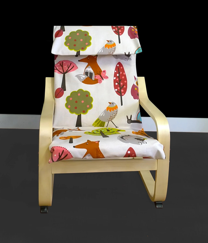ikea children's chair covers rentals okc kids animal print poÄng cushion slipcover poang
