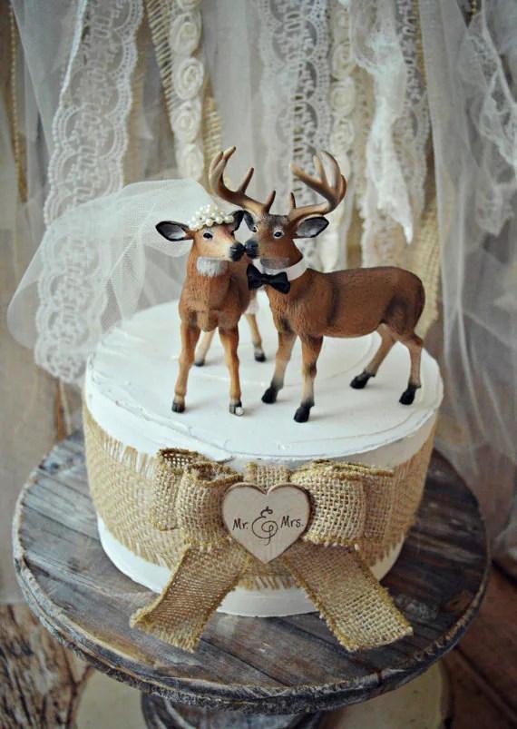 Hunting groom wedding cake topperdeerbuck and doecustomized