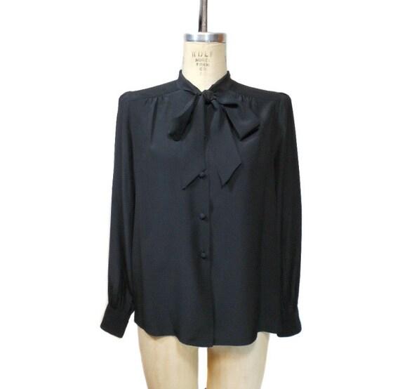 1970s ADOLFO Silk Blouse / Black / Ascot Pussy Bow Secretary Blouse