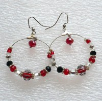 Red & Black Hoop Earrings: Extra Large Beaded Hoop Earrings