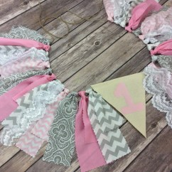 Age For High Chair Pink Velvet Fabric Birthday Banner In And Grey With Lace