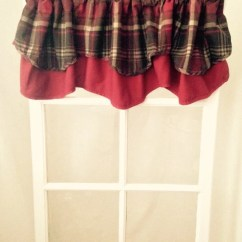 Cafe Curtains For Kitchen Linoleum Flooring Groovy Maroon And Brown Plaid Curtain Double Valance Cotton