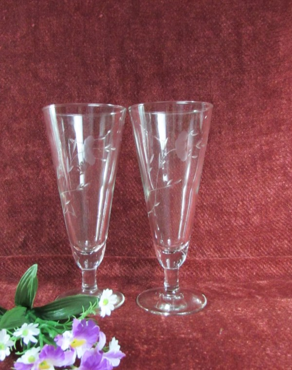 Vintage Princess House Tapered Crystal Wine Glasses