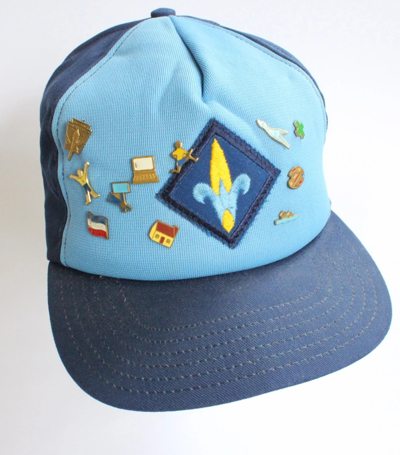 Vintage Webelos Boy Scouts Hat With 11 Pins S