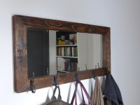 Mirror coat rack rustic mirror antique hooks entryway