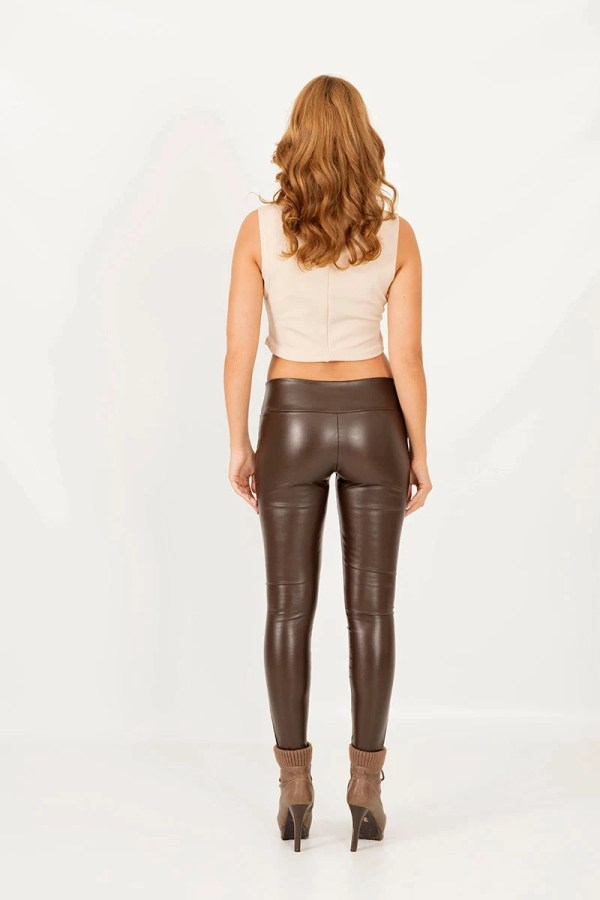 Lambskin Leggings Leather Brown Faux