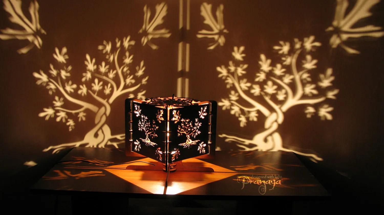 Decorative Lasercut Wood Fig Tree Shadow Lamp Handmade