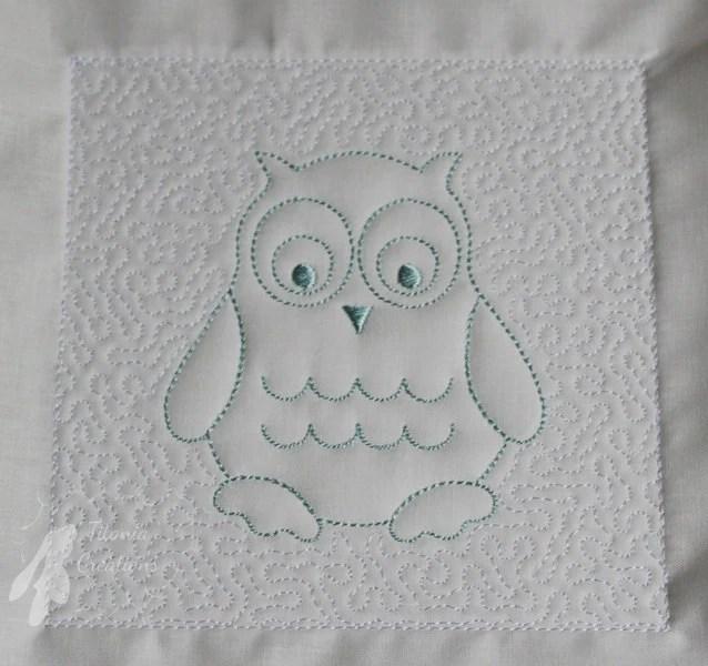 Trapunto Owl Quilt Block Machine Embroidery Design Pattern 8x8