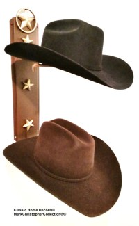 Cowboy Hat Holder Lone Star Rust with Gold Stars 892