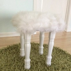Vanity Chair White Fur Cover Hire Perthshire Faux Stool With Wooden Legs By