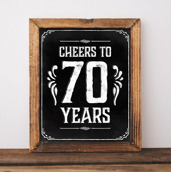Cheers To 70 Years Sign Printable Sign 70th Birthday Sign
