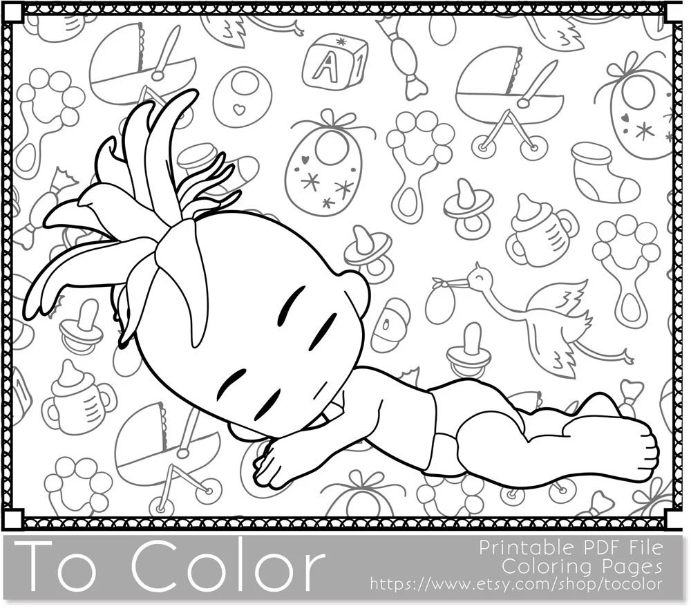 Baby Printable Coloring Pages for Adults Baby Showers by