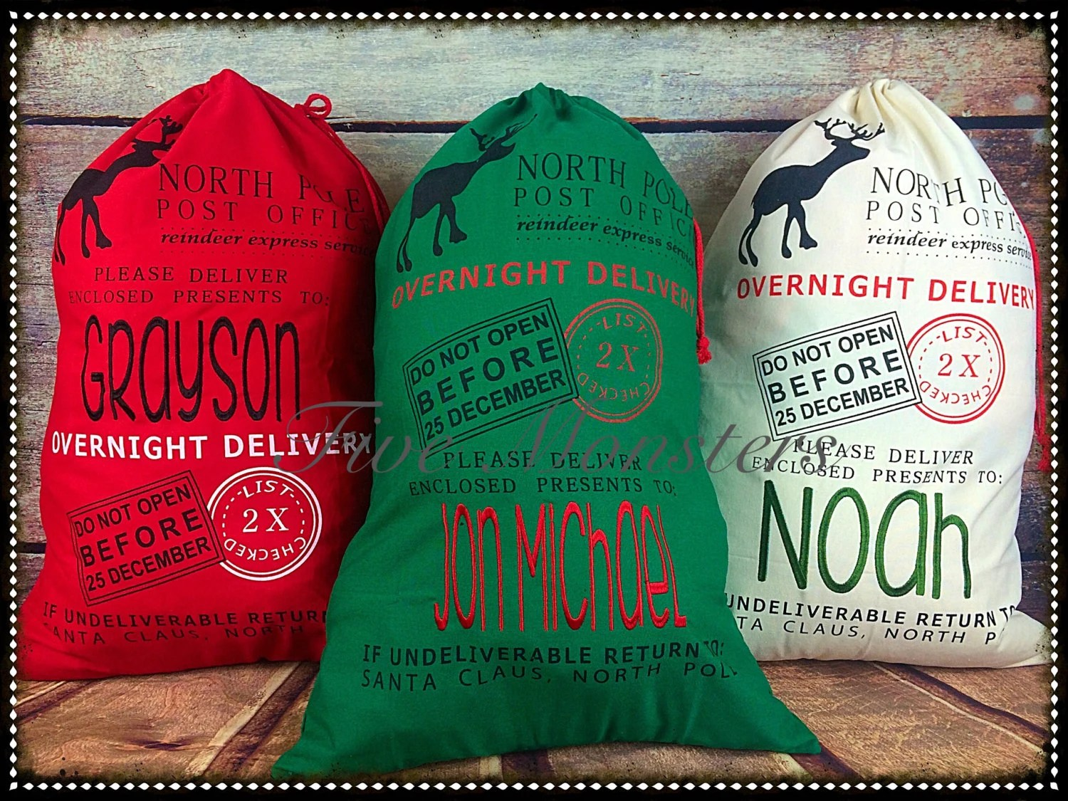 Custom Embroidered Christmas North Pole Santa Sacks Christmas