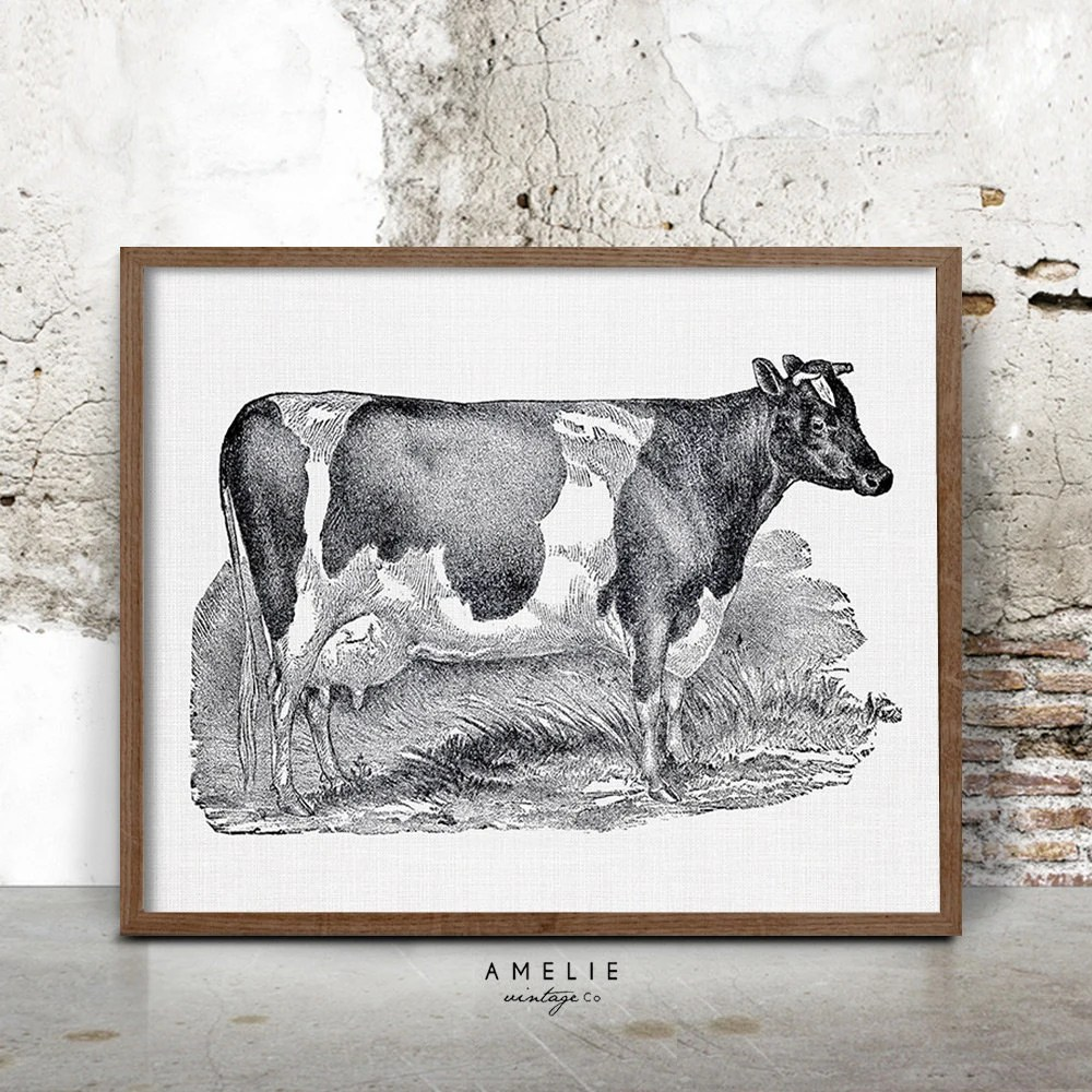 Dairy Cow Print Farmhouse Printable Decor French Country