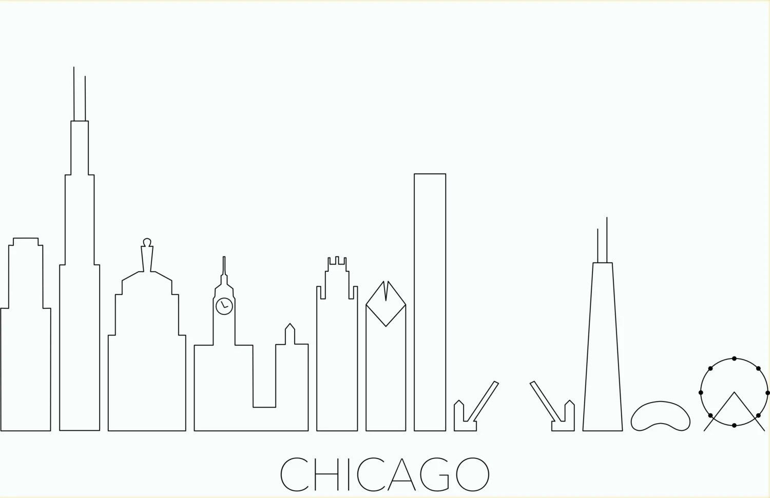 Embroidery Pattern Chicago skyline. Personalized gift for