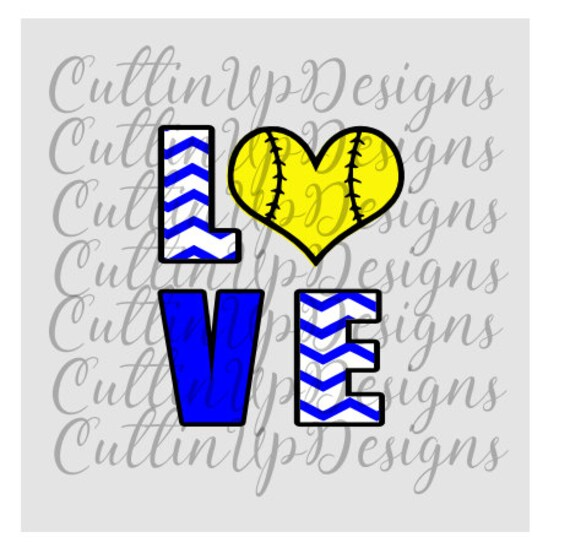 Download Love Softball Chevron Letters SVG PNG File for by ...