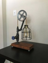 Pipe Pulley table lamp with water valve on/off switch
