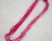 Crochet Cotton Chain Necklace, Crochet Jewelry, Fiber Necklace, Gift for Her, Everyday Jewelry in Red n' Pink Color Mix