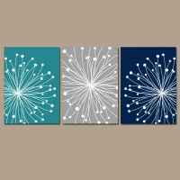 DANDELION Wall Art CANVAS or Prints Teal Gray Navy Bedroom
