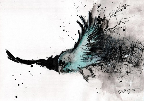 Ink Drawing Canvas A4 20x30cm Abstract Flying Bird