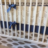Crib Bedding Set Taupe and Denim Blue by butterbeansboutique