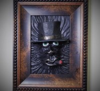 3D Leather wall art decor. Horror Leather face framed picture.