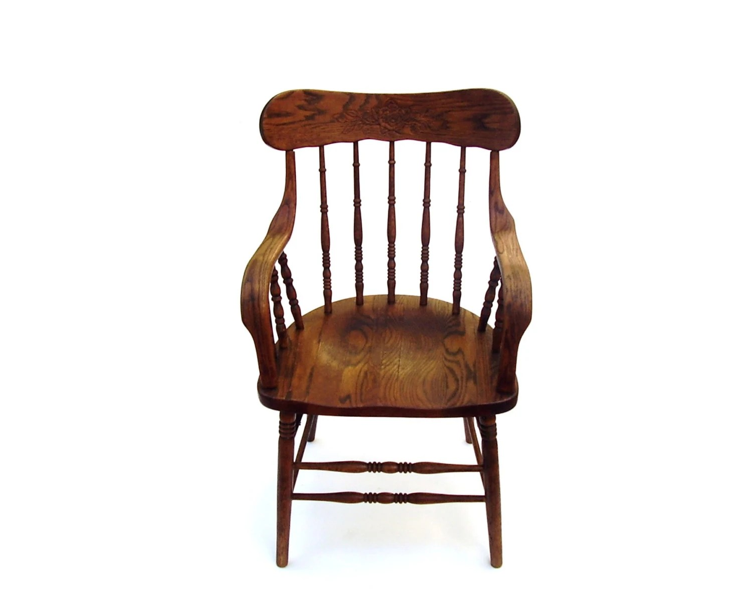 Antique Wooden Chair Antique Oak Chair Vintage Wood Captain Chair Spindle Back