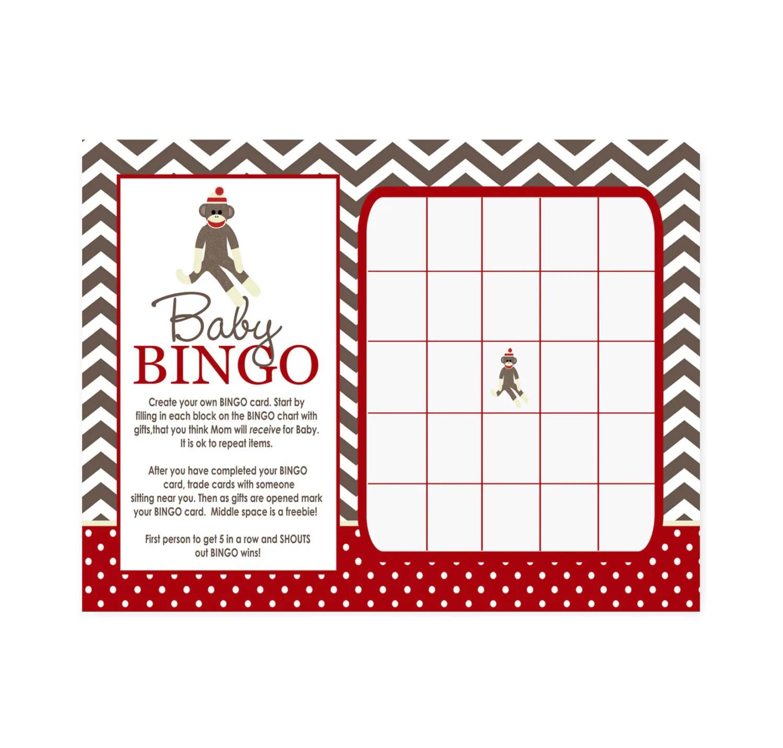 Sock Monkey Baby Shower Bingo Game Printable Activity Card