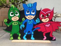 1 PJ Masks Wood Standee Catboy Gecko Owlette Birthday