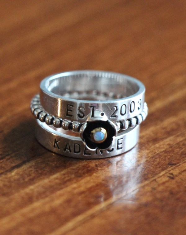 Personalized Stacking Rings Sterling Silver Hand Stamped