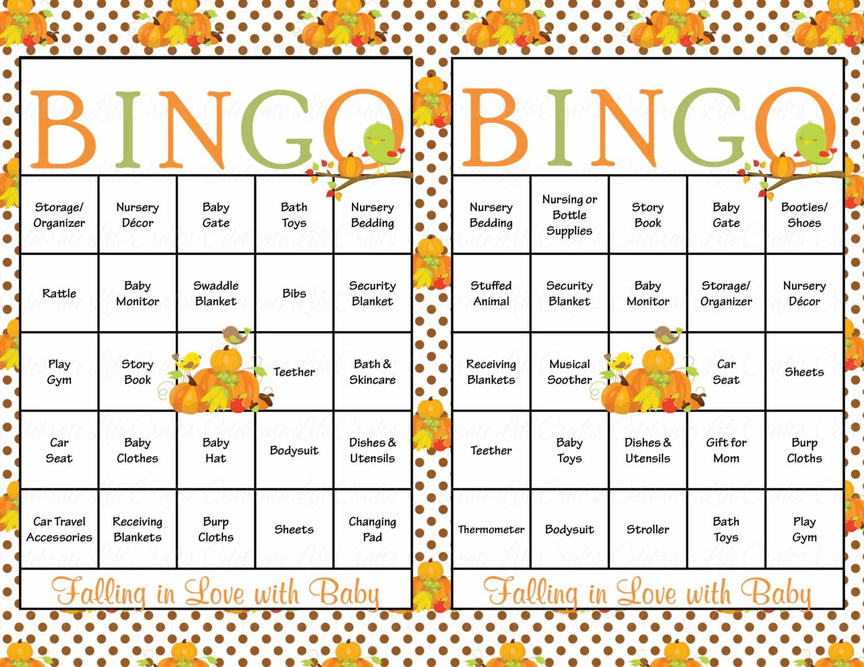 30 Baby Shower Bingo Cards Falling In Love By Celebratelifecrafts