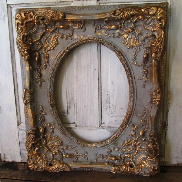 Large Ornate Frame Wood With Gesso Antique French