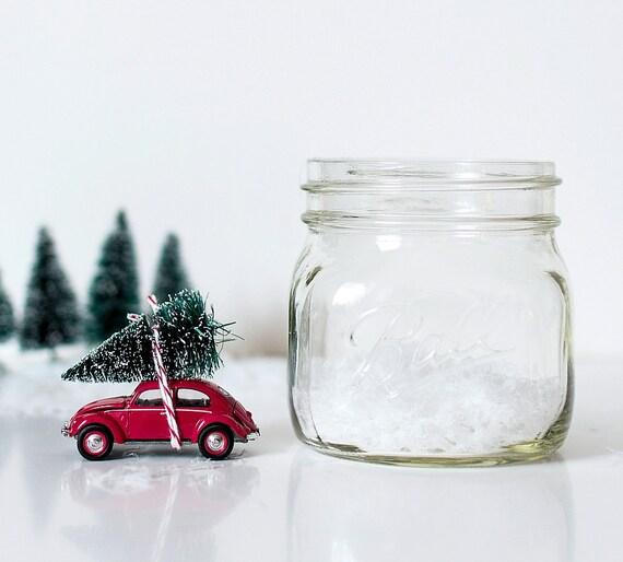 Snow Globe Car In Mason Jar Vintage By Dropclothdesignco