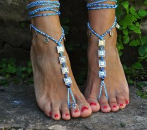 Turquoise Ethnic Barefoot Sandals Square Spirals Foot