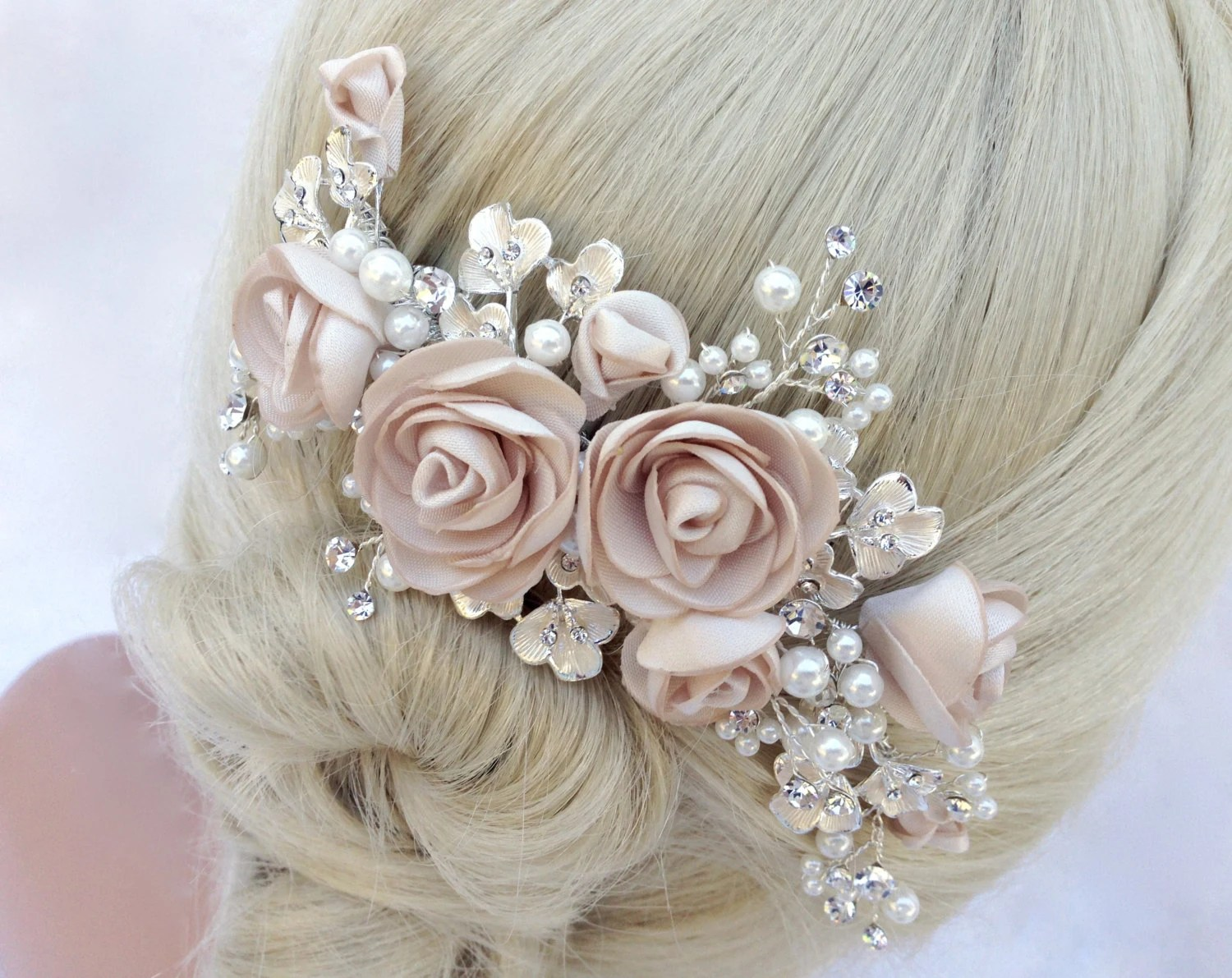 Pearl And Crystal Bridal Hair Comb Wedding Hair Comb Blush