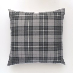 Houndstooth Sofa Fabric Wood Sofas Design Plaid Flannel Pillow Cover Gray 20 X
