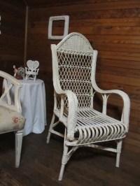 White Victorian Wicker Chair High back by ThePrettyVintageShop