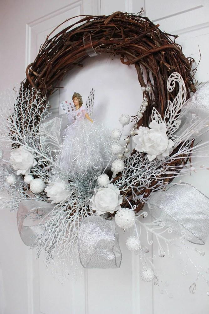 Christmas Wreath angel wreath wood wreath by invitationsbylou