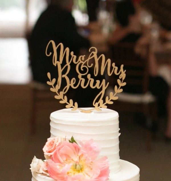 Custom Wedding Cake Topper Personalized Rustic
