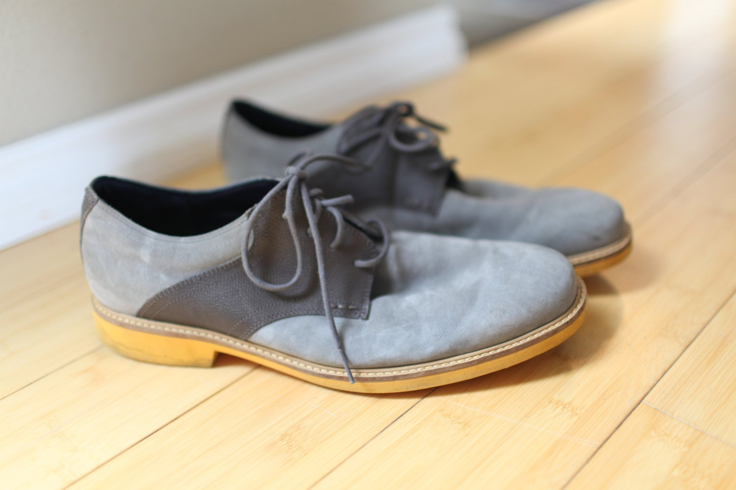 Cole Haan Gray Suede Leather Saddle Shoes Oxfords Loafers
