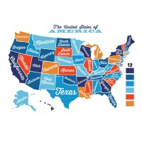 United States Map Decal USA Map Sticker State Map Wall