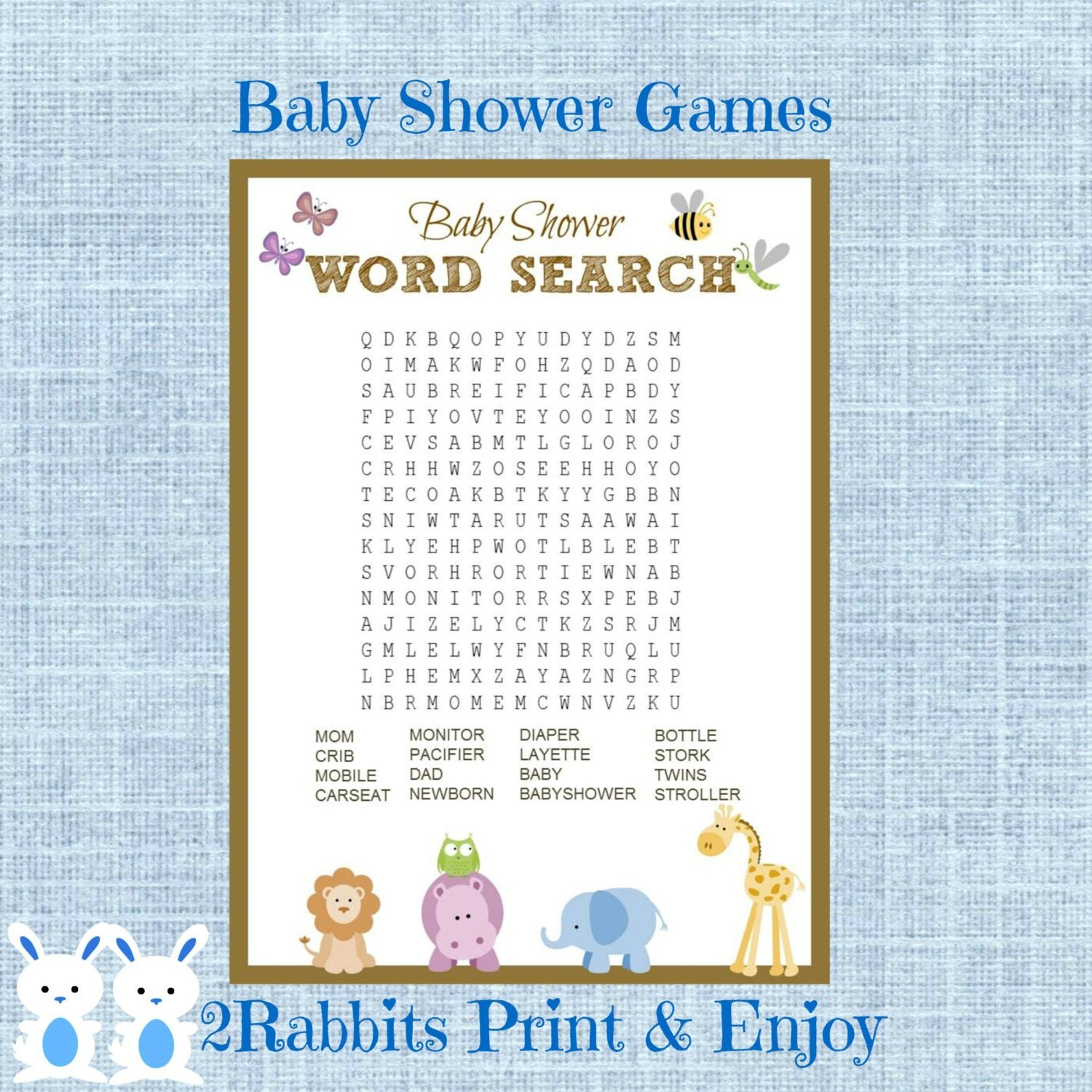 Safari Jungle Animal Baby Shower Word Search Game Baby Shower