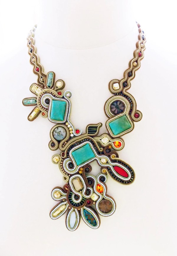 Soutache jewelry Handmade Jewelry soutache necklace beaded