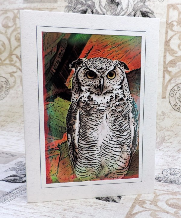 Owl Art Greeting Card Note Abstract