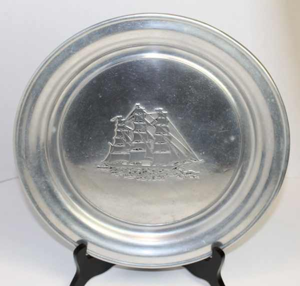 Rwp Wilton Armetale Usa Pewter Charger Plate With Schooner